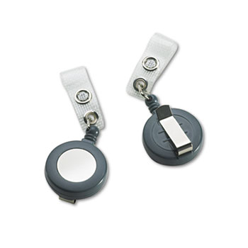 "GBC® Badgemates Plastic Retractable Name Badge Reel, 23"" Extension, Gray, 25/Box"