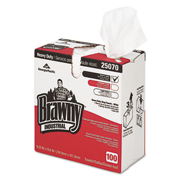 Heavy-Duty Shop Towels, Cloth, 9 1/10 x 16 1/2, 100/Box