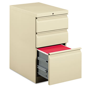 HON® Efficiencies Mobile Pedestal File with One File/Two Box Drawers, 22-7/8d, Putty