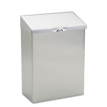 HOSPECO® Wall Mount Sanitary Napkin Receptacle, 8 x 4 x 11, Stainless Steel