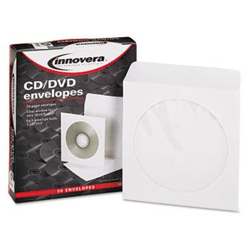 Innovera® CD/DVD Envelopes, Clear Window, White, 50/Pack