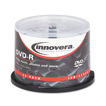 Innovera® DVD-R Inkjet Printable Recordable Disc, 4.7 GB, 16x, Spindle, Matte White, 50/Pack