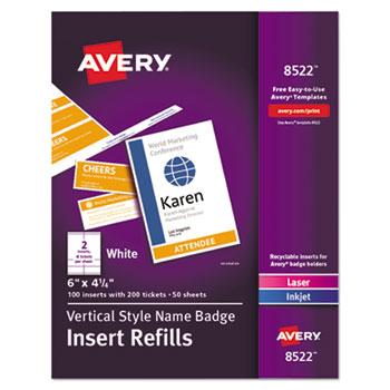 """Avery® Name Badge Insert Refills, 4 1/4"""" x 6"""", White, 100/Pack"""