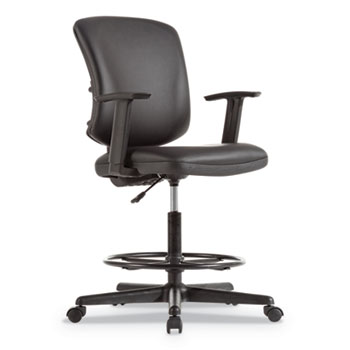 """Alera® Alera Everyday Task Stool, Leather Seat/Back, Supports Up to 275 lb, 20.9"""" to 29.6"""" Seat Height, Black"""