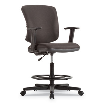 """Alera® Everyday Task Stool, 31.38"""" Seat Height, Supports up to 275 lbs, Black Seat/Black Back, Black Base"""