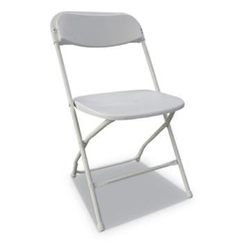 Economy Resin Folding Chair, White Seat/White Back, White Base, 4/Carton