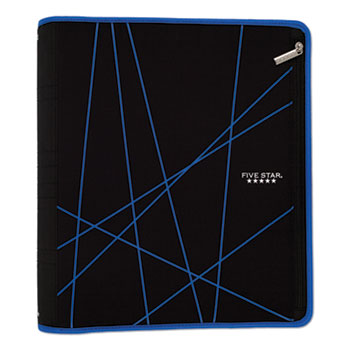 """Five Star® Xpanz Zipper Binder, 2"""" Capacity, 11 x 8 1/2, Black/Gray"""