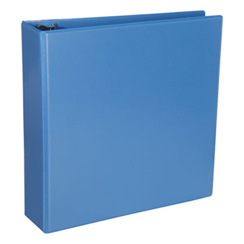 """Universal® Deluxe Round Ring View Binder, 3 Rings, 2"""" Capacity, 11 x 8.5, Light Blue"""