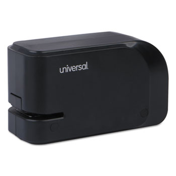 Universal® Half-Strip Electric Stapler with Staple Channel Release Button, 20-Sheet Capacity, Black