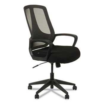Alera® Alera MB Series Mesh Mid-Back Office Chair, Supports up to 275 lbs., Black Seat/Black Back, Black Base