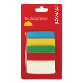 """Universal® Self Stick Index Tab, 2"""", Assorted Colors, 40/Pack"""