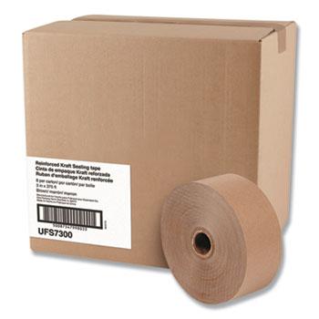 "General Supply Reinforced Kraft Sealing Tape, 3"" x 375ft, Brown, 8/CT"