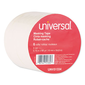 """Universal® Removable General-Purpose Masking Tape, 3"""" Core, 18 mm x 54.8 m, Beige, 6/Pack"""