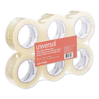 "Quiet Tape Box Sealing Tape, 3"" Core, 1.88"" x 110 yds, Clear, 6/Pack"