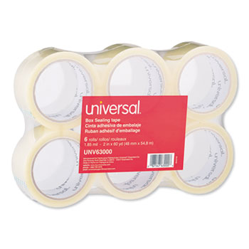 """General-Purpose Box Sealing Tape, 3"""" Core, 1.88"""" x 60 yds, Clear, 6/Pack"""