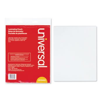 """Universal® Laminating Pouches, 3 mil, 9"""" x 11.5"""", Matte Clear, 25/Pack"""