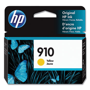 HP 910 Ink Cartridge, Yellow (3YL60AN)
