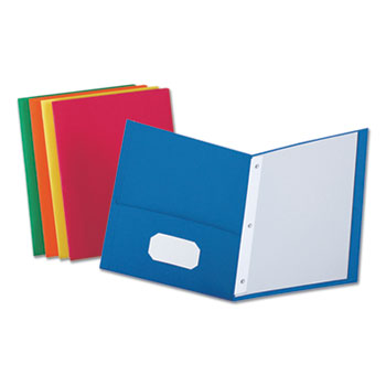 """Universal Two-Pocket Portfolios with Tang Fasteners, 0.5"""" Capacity, 11 x 8.5, Assorted, 25/Box"""