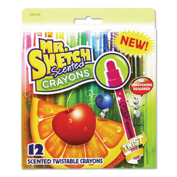 Mr. Sketch® Scented Crayons, Assorted, 12/Pack