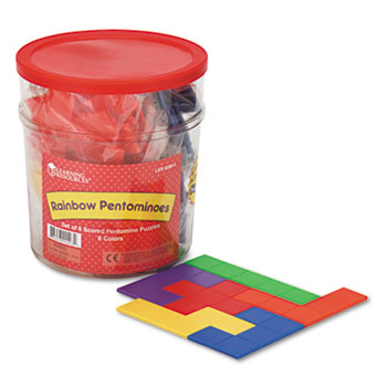 Learning Resources® Rainbow Premiere Pentominoes, Math Manipulative Puzzle, for Grades 1-8