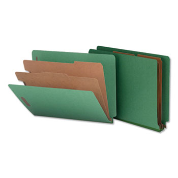 Universal Deluxe Six-Section Colored Pressboard End Tab Classification Folders, 2 Dividers, Letter Size, Green, 10/Box