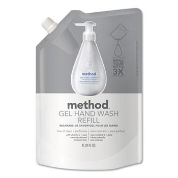 Method® Gel Hand Wash Refill, Fragrance-Free, 34 oz, 6/Carton