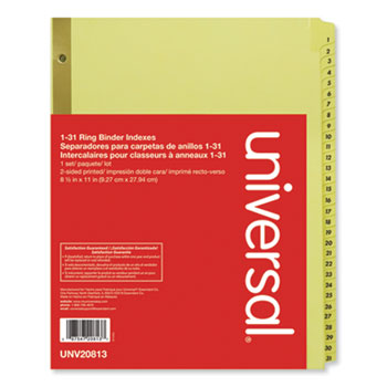 Universal® Deluxe Preprinted Plastic Coated Tab Dividers with Black Printing, 31-Tab, 1 to 31, 11 x 8.5, Buff, 1 Set