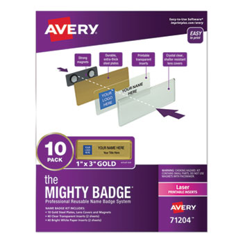 """Avery® The Mighty Badge®, Horizontal, 1"""" x 3"""", Laser, Gold, 10 Holders and 80 Inserts/Pack"""