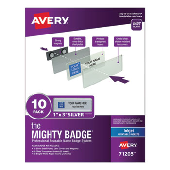 """Avery® The Mighty Badge®, Horizontal, 1"""" x 3"""", Inkjet, Silver, 10 Holders and 80 Inserts/Pack"""