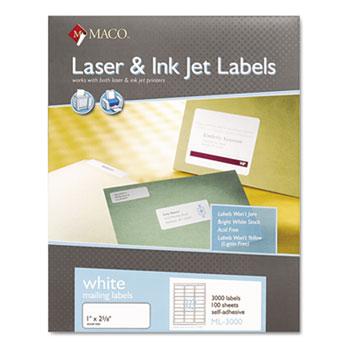 MACO® White Laser/Inkjet Shipping & Address Labels, 1 x 2 5/8, 3000/Box