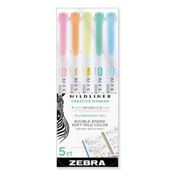 Zebra® Mildliner Double Ended Highlighter, Chisel/Bullet Tip, Assorted Colors, 5/Pack