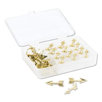 "U Brands Fashion Push Pins, Steel, Gold, 3/8"", 36/Pack"