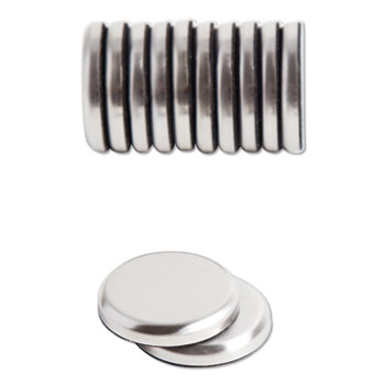 """U Brands High Energy Magnets, Circle, Silver, 1.25"""" Dia, 12/Pack"""