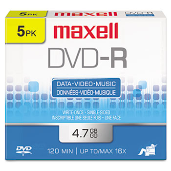 Maxell® DVD-R Discs, 4.7GB, 16x, w/Jewel Cases, Gold, 5/Pack