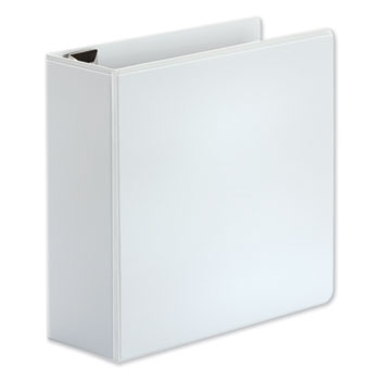 """Universal Deluxe Easy-to-Open D-Ring View Binder, 3 Rings, 4"""" Capacity, 11 x 8.5, White"""