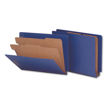 Universal Deluxe Six-Section Colored Pressboard End Tab Classification Folders, 2 Dividers, Letter Size, Cobalt Blue Cover, 10/Box