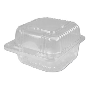 Durable Packaging Plastic Clear Hinged Containers, 6 x 6, 28 oz, Clear, 500/Carton