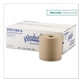 "Windsoft® Hardwound Roll Towels, 8"" x 800 ft, Natural, 6 Rolls/Carton"