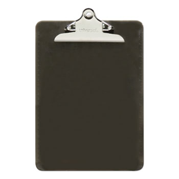 "Universal Plastic Clipboard w/High Capacity Clip, 1"", Holds 8 1/2 x 12, Translucent Black"