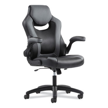 Sadie™ 9-One-One High-Back Racing Style Chair with Flip-Up Arms, Supports up to 225 lbs., Black Seat/Gray Back, Black Base