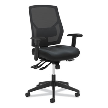 HON Basyx Crio High-Back Task Chair, Mesh Back, Adjustable Arms/Lumbar, Asynchronous Control, Black Leather