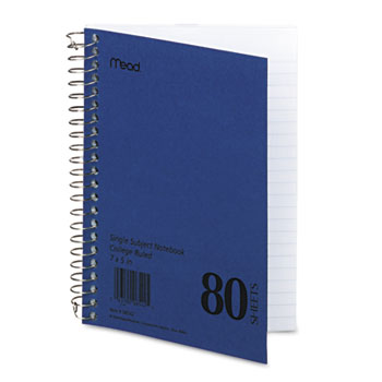 Mead® DuraPress Cover Notebook, College Rule, 5 x 7, White, 80 Sheets