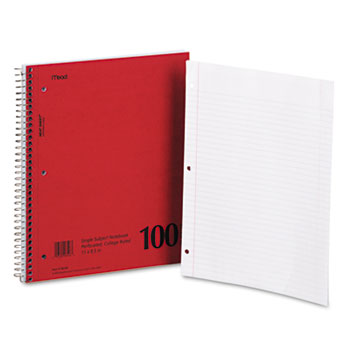 Mead® DuraPress Cover Notebook, College Rule, 8 1/2 x 11, White, 100 Sheets
