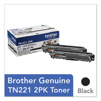 Brother TN2212PK Toner, 2500 Page-Yield, Black, 2/Pack