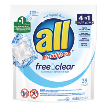 All® Mighty Pacs Free and Clear Super Concentrated Laundry Detergent, 39/Pack, 6 Packs/Carton