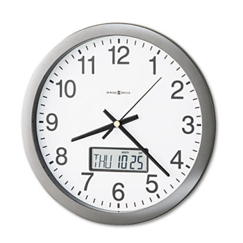 "Howard Miller® Chronicle Wall Clock with LCD Inset, 14"", Gray"