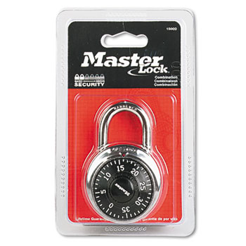 """Combination Lock, Stainless Steel, 1 15/16"""" Wide, Black Dial"""