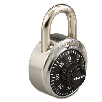 """Master Lock® Combination Stainless Steel Padlock w/Key Cylinder, 1-7/8"""" Wide, Black/Silver"""