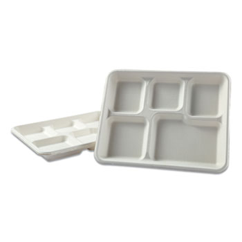 Boardwalk® Bagasse Molded Fiber Dinnerware, 5-Compartment Tray, 8 x 12, White, 500/Carton