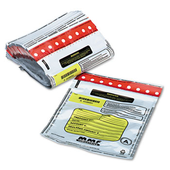 MMF Industries™ Tamper-Evident Deposit/Cash Bags, Plastic, 9 x 12, White, 100 Bags/Box